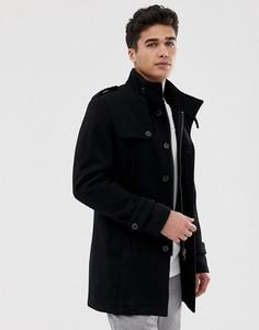 Шерстяное пальто с воротником-стойкой Selected Homme-Черный