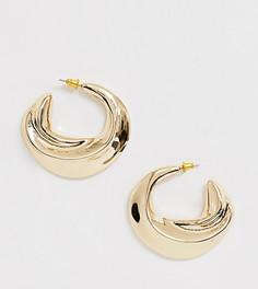 Эксклюзивные массивные золотистые серьги-кольца с перекрученной отделкой Liars & Lovers-Золотой