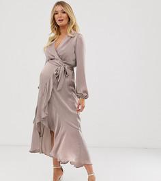 Атласное платье миди с запахом Flounce London Maternity-Бежевый