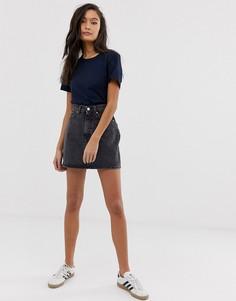 Черная выбеленная джинсовая мини-юбка Weekday-Черный