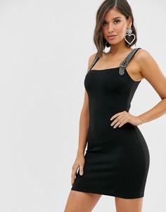 Черное облегающее платье с бретелями в виде цепочек со стразами Rare London-Черный