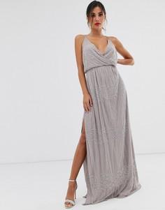 Платье макси с запахом с цветочной вышивкой ASOS DESIGN-Серый