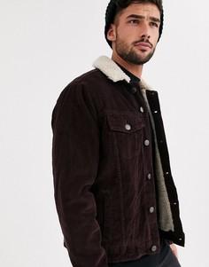 Бордовая вельветовая куртка в стиле вестерн с подкладкой из искусственного меха New Look-Красный