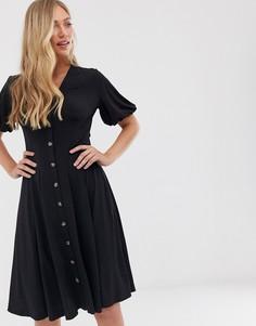 Платье миди с пуговицами French Connection-Черный