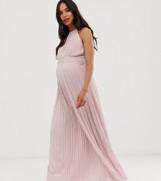 Серо-коричневое плиссированное платье макси эксклюзивно от TFNC Maternity - bridesmaid-Бежевый