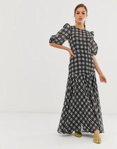 Платье макси в черно-белую клетку с пышными рукавами ASOS EDITION-Мульти