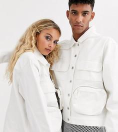 Куртка с карманами в стиле милитари COLLUSION Unisex-Белый