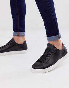 Черные кожаные кроссовки с контрастной подошвой Selected Homme-Черный