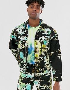 Джинсовая куртка от комплекта с принтом тай-дай Jaded London-Черный
