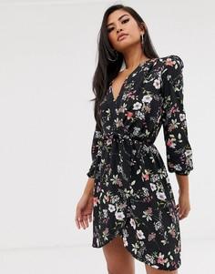 Платье с запахом и длинными рукавами Love-Черный