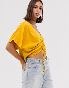 Блузка горчичного цвета со сборками спереди Bershka-Желтый