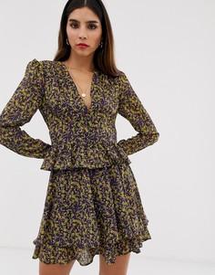 Блузка с длинными рукавами и цветочным принтом The East Order - Mags-Фиолетовый