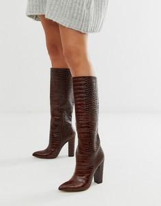 Коричневые кожаные сапоги на блочном каблуке с крокодиловым рисунком ALDO-Коричневый