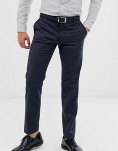 Узкие фактурные брюки Calvin Klein-Темно-синий