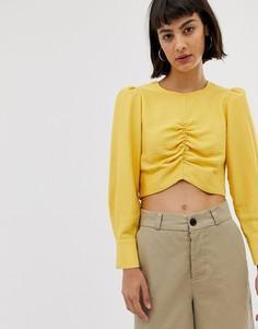 Кроп-топ с длинными рукавами и сборками ASOS WHITE-Желтый
