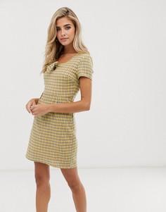 Чайное платье мини в клетку с бантом спереди Daisy Street-Желтый