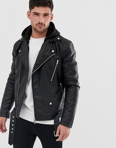 Черная байкерская куртка из искусственной кожи с капюшоном River Island-Черный