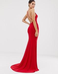 Красное платье макси с годе и перекрестными бретельками на спине Club L London-Красный