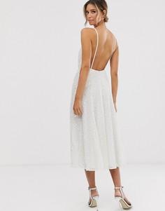 Свадебное платье миди на бретелях ASOS EDITION-Белый
