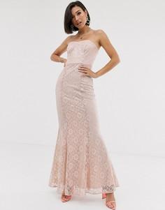 Кружевное платье макси с вырезом бандо ASOS DESIGN-Розовый