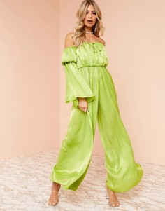Комбинезон с широкими штанинами ASOS DESIGN Luxe-Зеленый