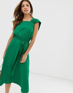 Платье миди с квадратным вырезом Y.A.S-Зеленый