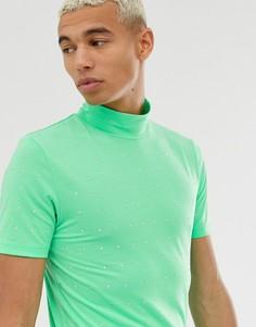 Обтягивающая футболка с высоким воротом и отделкой камнями ASOS DESIGN-Зеленый