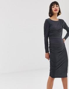 Облегающее платье-футляр миди Selected-Черный