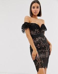 Кружевное платье миди черного/розового цвета с открытыми плечами Rare-Черный