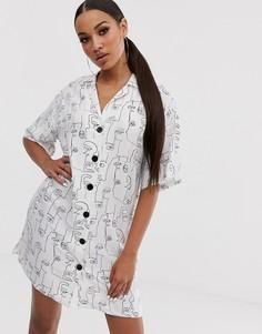Платье-рубашка мини с абстрактным принтом ASOS DESIGN-Мульти