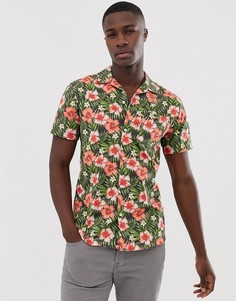 Зеленая рубашка с короткими рукавами и цветочным принтом Selected Homme-Зеленый