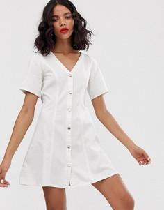 Белое джинсовое платье мини с короткими рукавами Monki-Белый