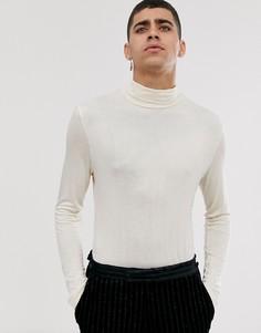 Бежевая эластичная футболка из вискозы с длинными рукавами и драпировкой ASOS DESIGN-Бежевый