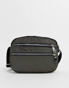 Нейлоновая сумка через плечо цвета хаки New Look-Зеленый