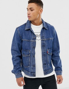 Выбеленная джинсовая куртка с накладным карманом Levis - gear box-Синий