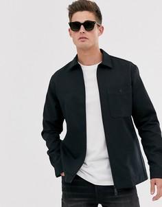 Черная рубашка на молнии Selected Homme-Черный