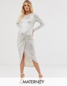 Белое платье мидакси для дома со сборками и пайетками Queen Bee-Серебряный