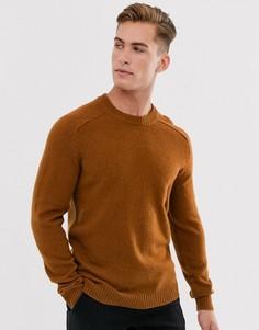 Оранжевый шерстяной джемпер с круглым вырезом Selected Homme-Светло-коричневый