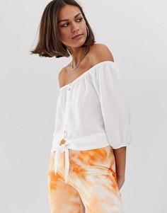 Белая блузка с открытыми плечами Bershka-Белый