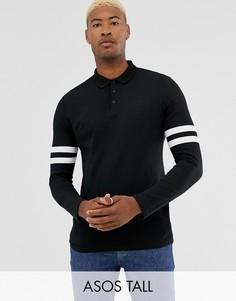 Черная футболка-поло из органического хлопка с контрастными полосками на длинных рукавах ASOS DESIGN Tall-Черный