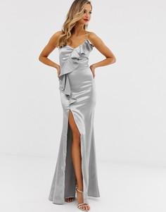 Атласное платье макси с оборками и разрезом City Goddess-Серебряный