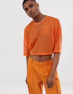 Укороченная oversize-футболка из сетчатого материала с рукавами до локтя ASOS DESIGN-Оранжевый