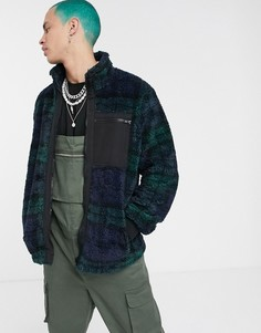 Куртка из искусственной цигейки в зеленую и синюю клетку ASOS DESIGN-Синий