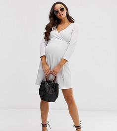 Фактурное платье мини с запахом эксклюзивно для ASOS DESIGN Maternity-Белый