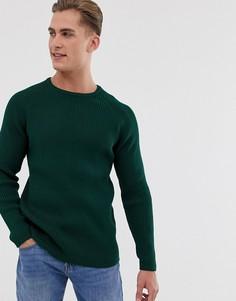 Вязаный джемпер в рубчик Selected Homme-Зеленый