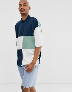 Удлиненная футболка-поло в стиле oversize, с рукавами до локтя и вставками в стиле колор блок темно-синего и других цветов ASOS DESIGN-Темно-синий