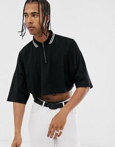 Черная укороченная футболка-поло с рукавами длиной до локтя и воротом на молнии ASOS DESIGN-Черный
