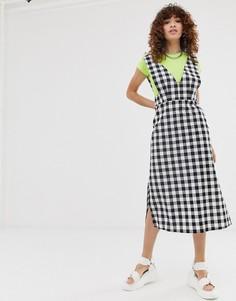 Платье миди в клеточку с V-образным вырезом Noisy May-Мульти