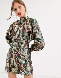 Свободное платье мини с пайетками и поясом ASOS DESIGN-Мульти