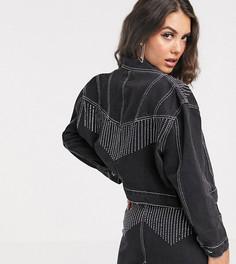 Джинсовая куртка от комплекта с отделкой стразами Liquor N Poker-Черный